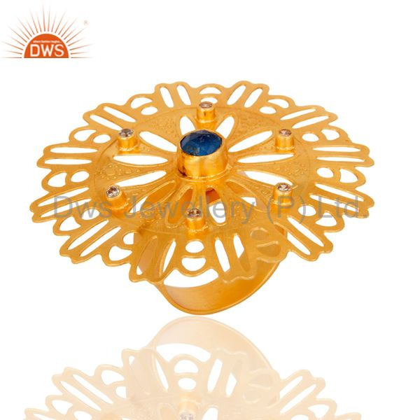 Supplier of 18K Gold-Plated Round Cut Aventurine Blue & Cubic Zirconia Modern Filigree Ring
