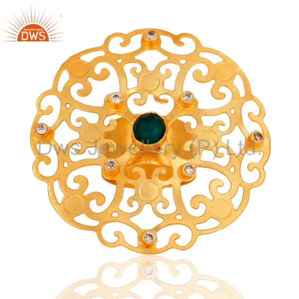 Manufacturer of 18k Yellow Gold Plated Large Round Filigree Modern Womens Party Wear Rings