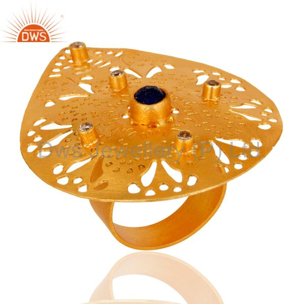 Wholesale Artisan Handcrafted 24K Gold Plated Aventurine & Cubic Zirconia Fashion Ring