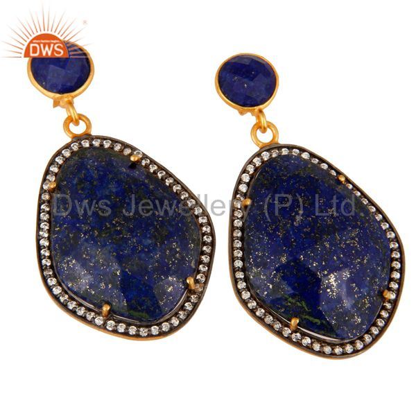 Supplier of Natural Lapis Lazuli Gemstone And Cubic Zirconia Drop Earrings - Gold Plated