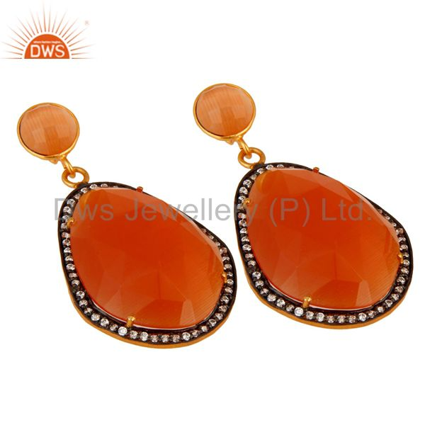 Manufacturer of Faceted Peach Moonstone And CZ 24K Yellow Gold Plated Designer Earrings