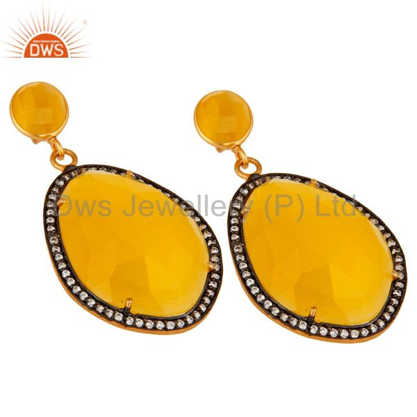 Wholesale Designer Yellow Moonstone Fashion Gemstone Earrings With CZ in 18K Gold On Brass