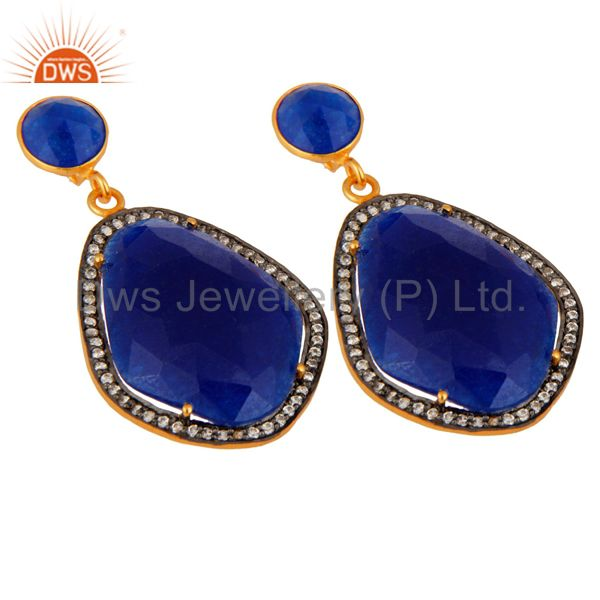 Wholesale Pave CZ & Blue Aventurine Gemstone Beautiful Designer Earrings With Gold Plated