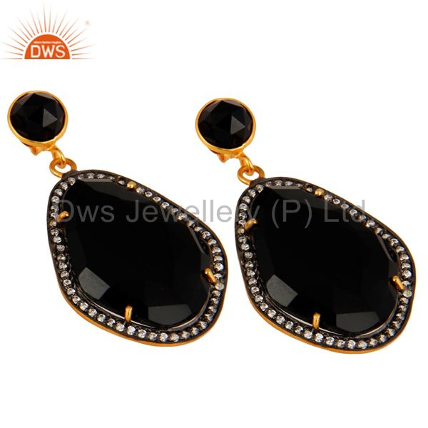 Manufacturer of Natural Black Onyx And CZ Drop Earrings in 18K Yellow Gold Plated Over Brass