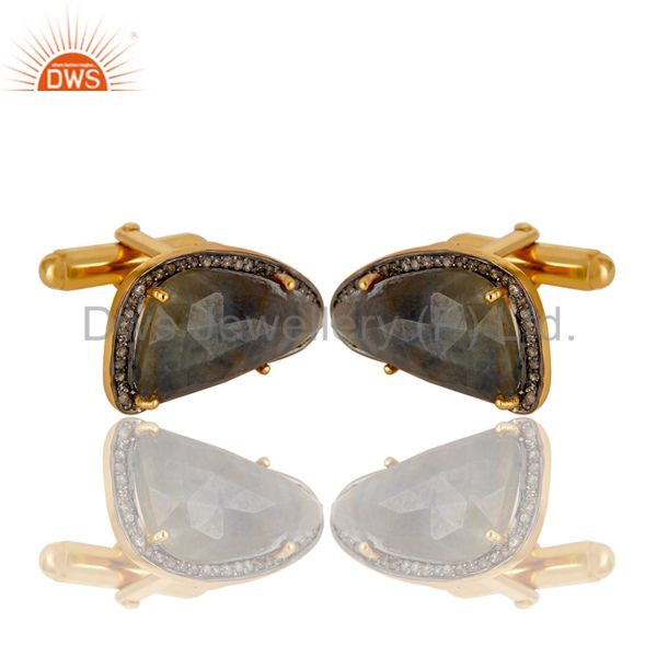 Supplier of Blue SApphire Gemstone Pave Diamond Gold Plated Sterling Silver Cufflinks