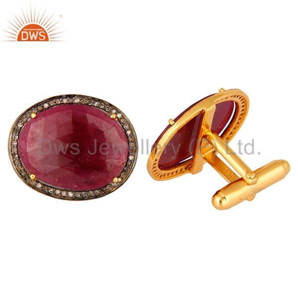 Wholesale Mens Ruby Gemstone Diamond Accent 18kt Gold Over Sterling Silver Cuff Links