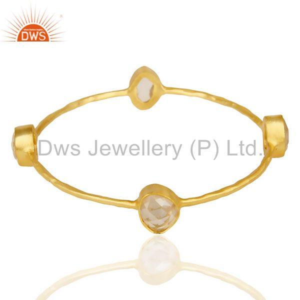 Supplier of Crystal Fourstone 14K Gold Plated Four Stone Fashion Bangle