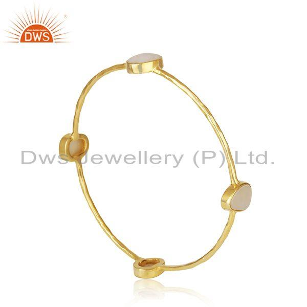 Indian Wholesaler of Mother of Pearl Gold Plated Brass Fashion Stackable Bangle Wholesaler