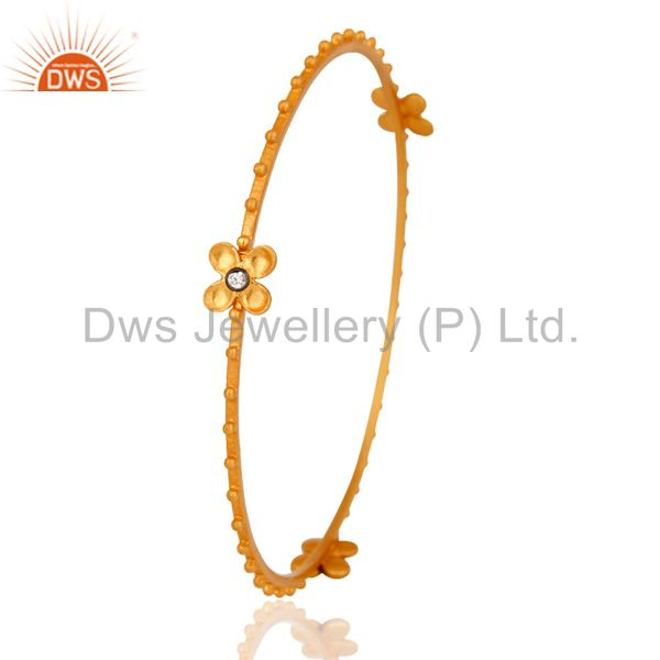 Supplier of Stunning Cubic Zirconia 18K Yellow Gold Plated Beautiful Designer Bangle Jewelry