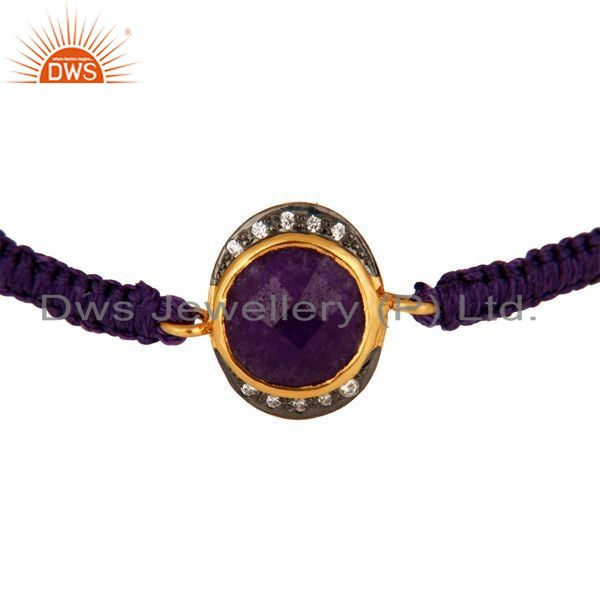 Wholesale Purple Aventurine And CZ Sterling Silver Macrame Fashion Bracelet - Gold Plated