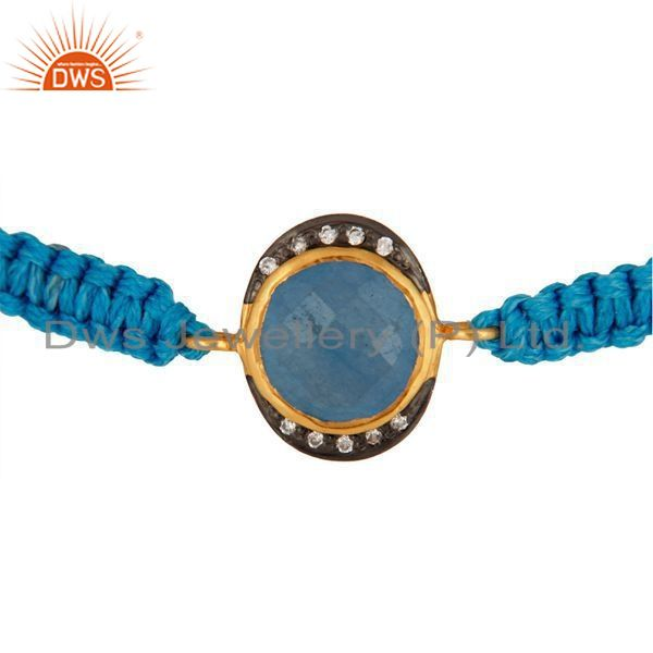 Wholesale Gold Plated Blue Aventurine And CZ Sterling Silver Macrame Bracelet Jewelry