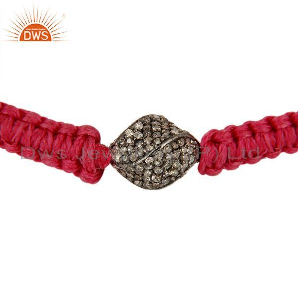 Manufacturer of Pave Diamond 925 Sterling Silver Bead Macrame Bracelets Perfect Gift Jewelry