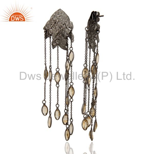 Oxidized Sterling Silver Citrine Gemstone Designer Chandelier Earrings From Jaipur India
