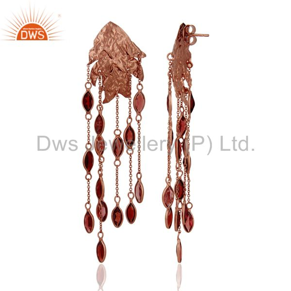 18K Rose Gold Plated Sterling Silver Garnet Gemstone Designer Chandelier Earring From Jaipur India