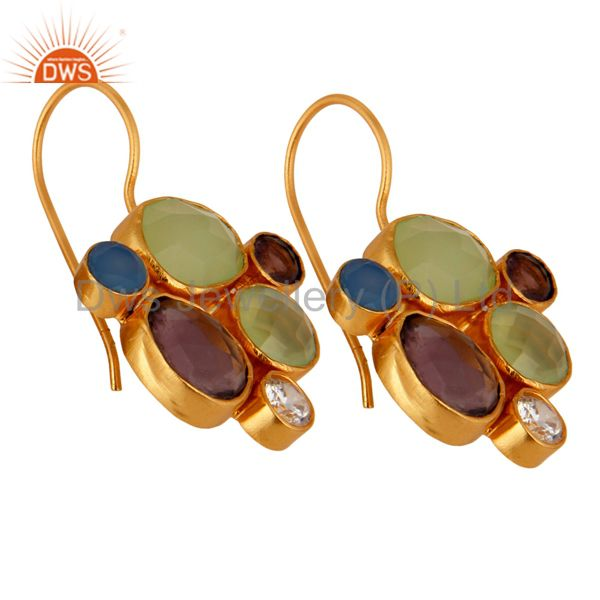 Wholesale 24K Yellow Gold Plated Brass Aqua Chalcedony And Hydro Amethyst Earrings