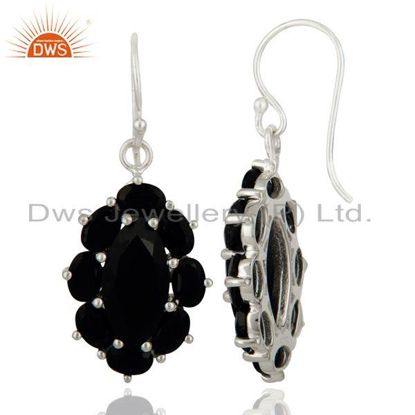 Supplier of Handmade 925 Sterling Silver Black Onyx Gemstone Prong Setting Designer Earring