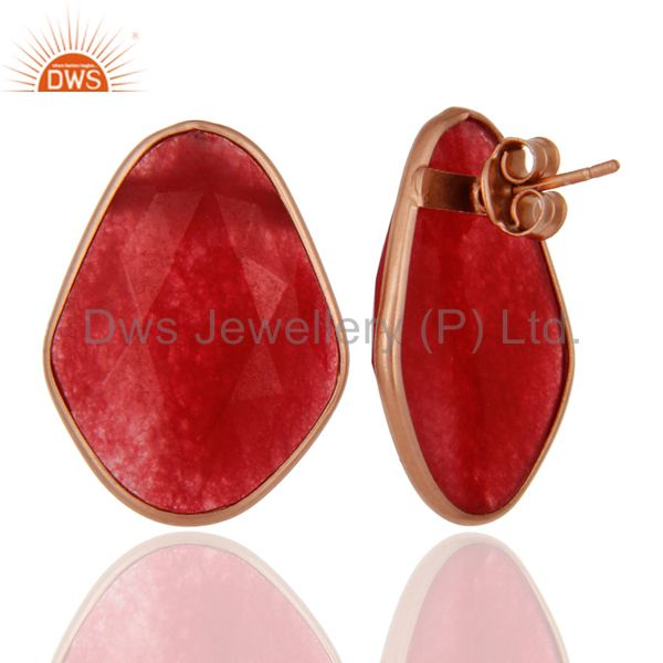 Supplier of 18K Rose Gold Plated Sterling Silver Red Aventurine Bezel Set Stud Earrings