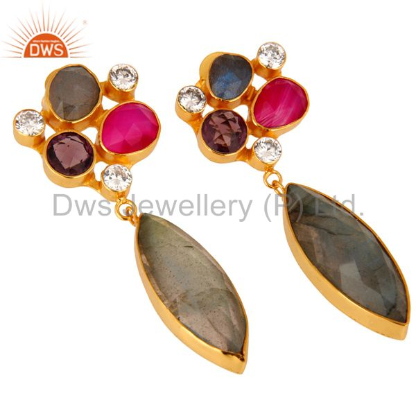 Wholesale 24K Gold Plated Labradorite And Amethyst Designer Earrings With CZ