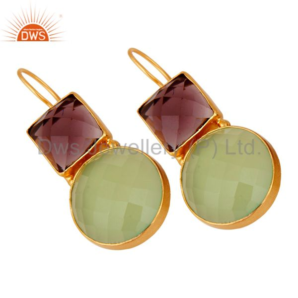Supplier of 22K Yellow Gold Plated Brass Green Chalcedony And Hydro Amethyst Dangle Earrings