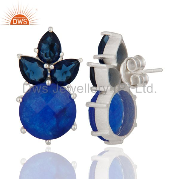925 Sterling Silver Blue Corundum And Blue Aventurine Cluster Post Stud Earrings From Jaipur India