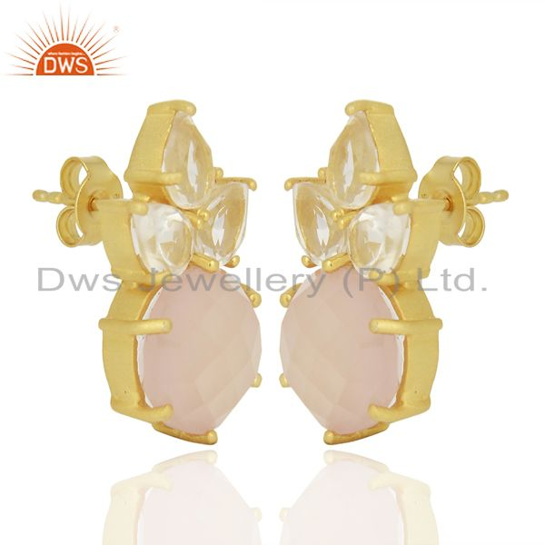 18K Gold Plated Sterling Silver Crystal Quartz And Chalcedony Post Stud Earrings From Jaipur India
