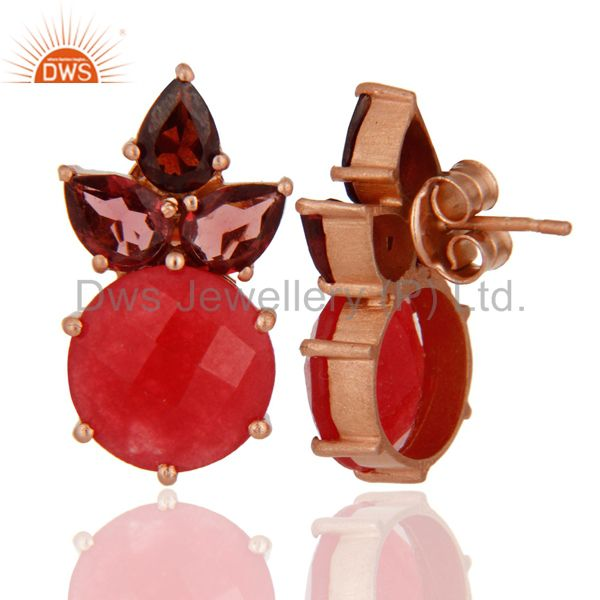 18K Rose Gold Plated Red Aventurine And Garnet Cluster Post Stud Earrings From Jaipur India