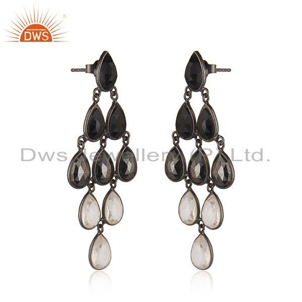 Indian Supplier of Handmade Black Rhodium Plated Sterling Silver Multi Gemstone Earrings