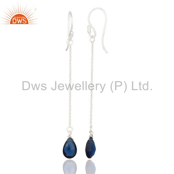 925 Sterling Silver Blue Corundum Faceted Briolette Drop Earrings From Jaipur India