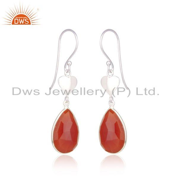 Indian Supplier of Red Onyx Gemstone Designer Fine Sterling Silver Womens Earrings