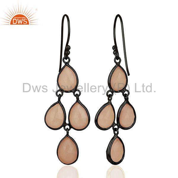 Manufacturer of Rhodium Plated 925 Silver Rose Chalcedony Gemstone Earrings Wholesale