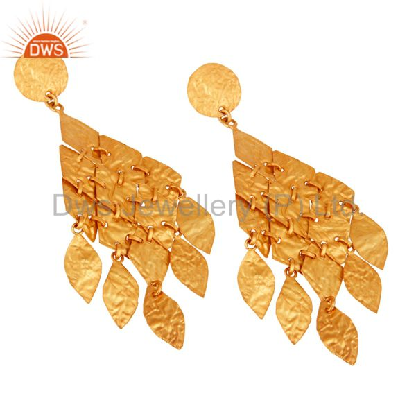 Supplier of 18K Yellow Gold Plated Sterling Silver Petals Designer Chandelier Earrings