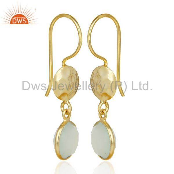 Wholesale Aqua Chalcedony Dangle 14K Yellow Gold Plated Sterling Silver Earrings Jewelry