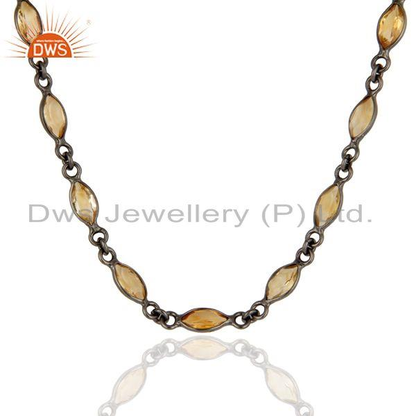 Supplier of Black Rhodium Plated Sterling Silver Citrine Marquise Cut Bezel-Set Necklace
