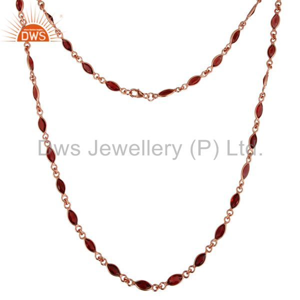 Manufacturer of 18K Rose Gold Plated Sterling Silver Garnet Gemstone Link Chain Necklace
