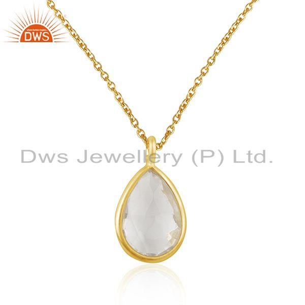 Supplier of Crystal Quartz Gemstone 925 Sterling Silver Gold Plated Chain Pendant