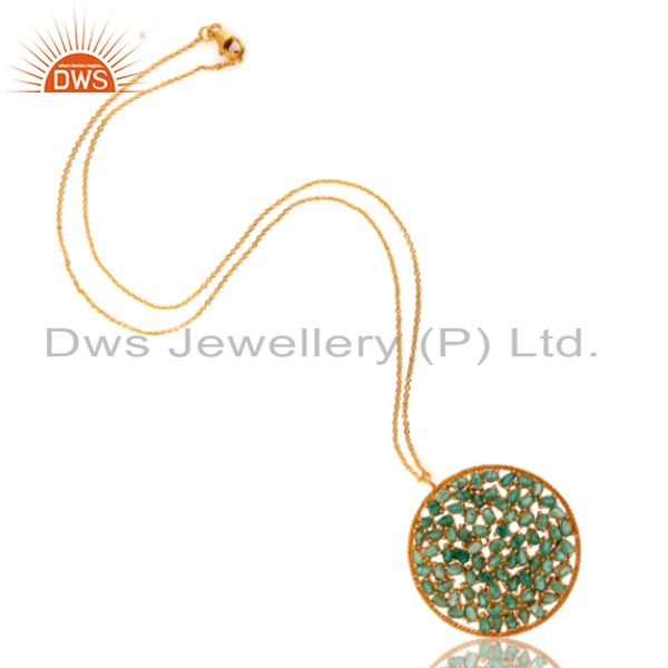 Wholesale 18K Yellow Gold Over Sterling Silver Emerald Gemstone Cluster Pendant With Chain