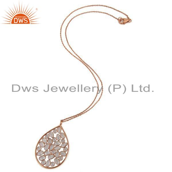 Supplier of 18K Rose Gold Over Sterling Silver Cubic Zirconia Drop Pendant With Chain