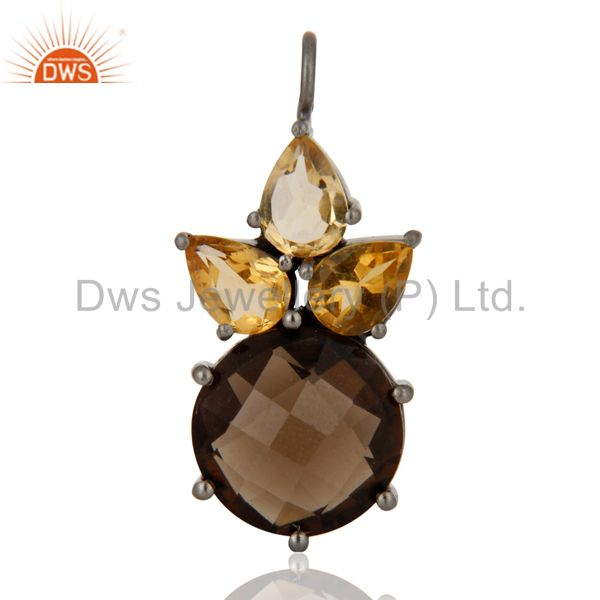 Manufacturer of Smoky Quartz And Citrine Cluster Gemstone Pendant In Oxidized Sterling Silver