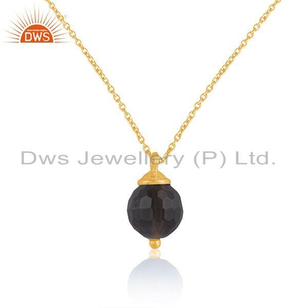Indian Manufacturer of Smoky Quartz Gemstone Gold Plated Sterling Silver Girls Chain Pendant
