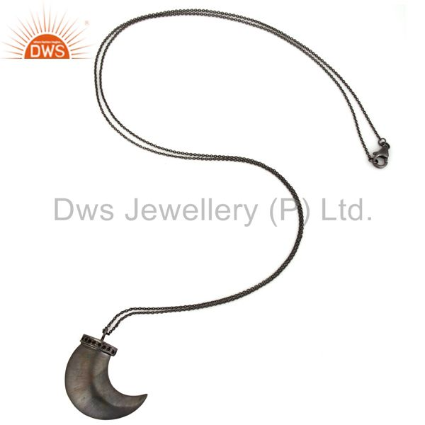 Manufacturer of Black Rhodium Plated Sterling Silver Smoky Quartz Shark Tooth Pendant With Chain In Jaipur
