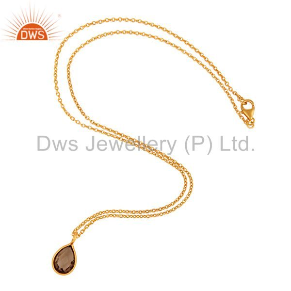 Wholesale 18K Yellow Gold Plated Sterling Silver Smoky Quartz Gemstone Drop Pendant In India