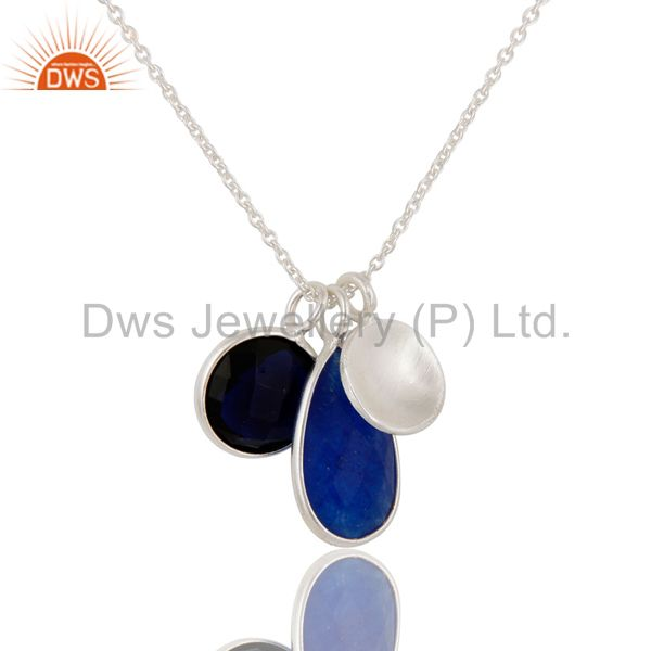 Supplier of Faceted Blue Aventurine And Corundum Bezel-Set Sterling Silver Pendant With Chai In India