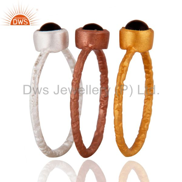 Supplier of 18K Gold Plated Sterling Silver Smoky Quartz Gemstone Stack Ring 3 Pcs Set