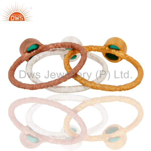 Wholesale Sterling Silver And 18K Gold Yellow Plated Green Onyx Stackable Ring 3 Pcs Set