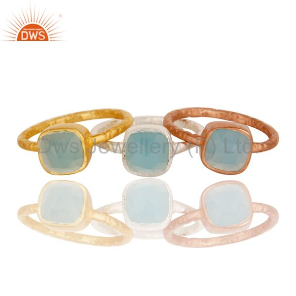 Wholesale 18K Gold Plated Sterling Silver Aqua Chalcedony Gemstone Stacking Ring 3 Pcs Set