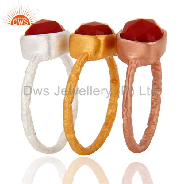 Wholesale 18K Gold Over Sterling Silver Red Coral Gemstone Stacking Ring 3 Pcs Set