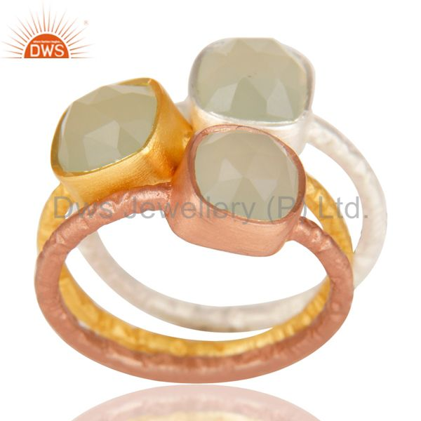 Manufacturer of 14K Gold, Rose & Silver Plated Handmade Dyed Chalcedony 3 Set Stackable Ring