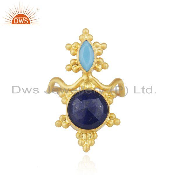Wholesale Multi Gemstone Gold Plated Sterling Silver Traditional Cocktail Rings