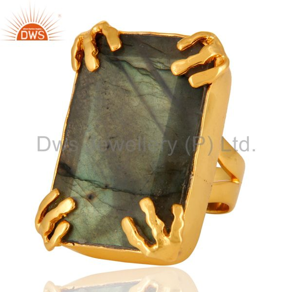 Supplier of Natural Faceted Labradorite Gemstone 18K Yellow Gold Plated Statement Ring