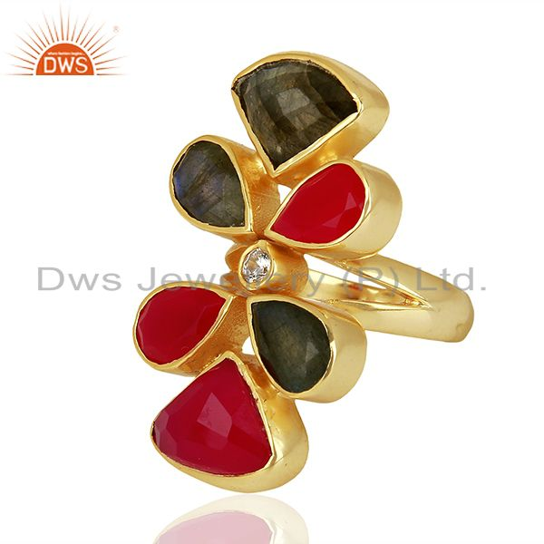 Wholesale Natural Labradorite And Dyed Pink Chalcedony Gold Plated Statement Ring